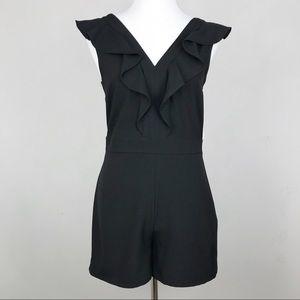 Bar III Black Ruffle Romper Short Jumpsuit